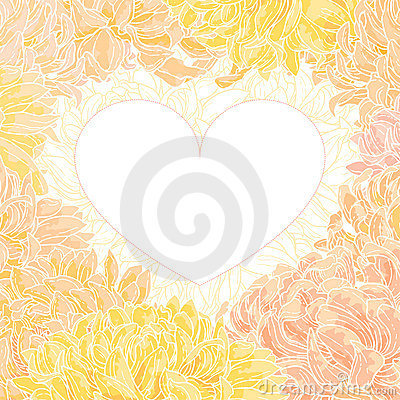 Romantic vector heart-frame with chrysanthemum