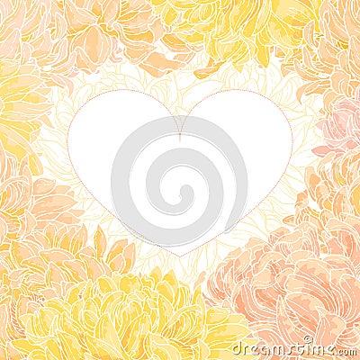 Romantic vector heart-frame with chrysanthemum