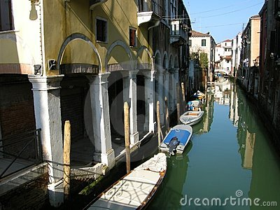 Romantic Venice canal boats