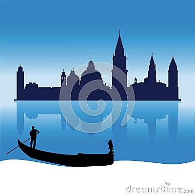 Romantic Venice silhouette skyline