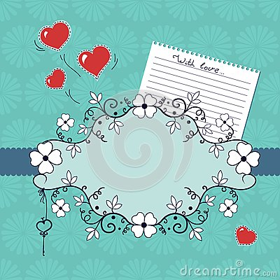 Romantic vignette with flowers and hearts