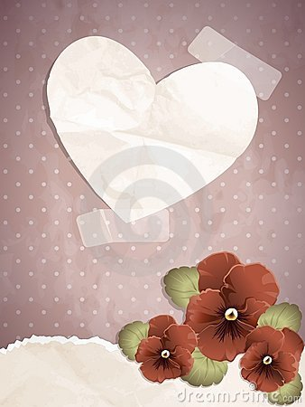 Romantic vintage illustration with a paper heart