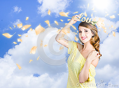 Romantic woman dreaming of a sky filled romance