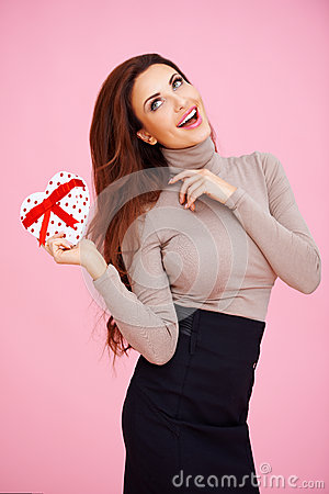 Romantic woman with a Valentine gift