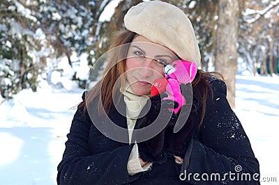 Romantic woman in winter