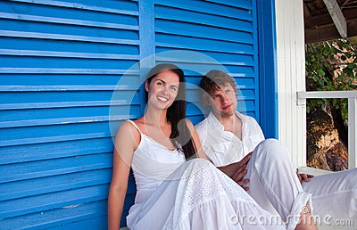 Romantic Young Couple In Tropical Beach House Stock Photos - Image: 26478403