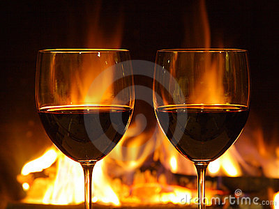 Romantisch diner, twee glazen