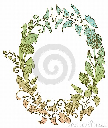 Romantischer Hintergrund mit Kranz der wilden Blume