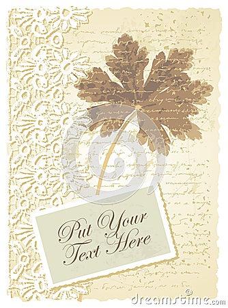 Romantiskt kort med pelargonen