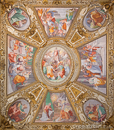 Free Rome -   Assumption Of The Virgin  By Domenichino On The Ceiling Of Side Chapel Of Basilica Di Santa Maria In Trastevere Stock Photos - 52985643