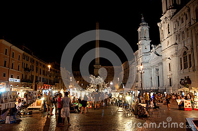 ROME-AUGUST 7: Piazza Navona on August 7, 2013 in Rome. Editorial Image