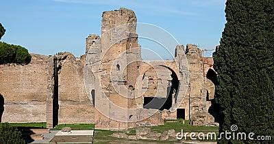 Rome, bains de vraie vidéo de Caracalla 4k clips vidéos