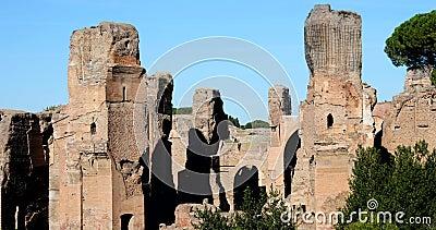 Rome, bains de vraie vidéo de Caracalla 4k banque de vidéos