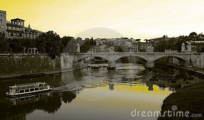 Rome - Bridge on the river