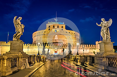 Rome, the bridge of St. Angelo, night landscape.