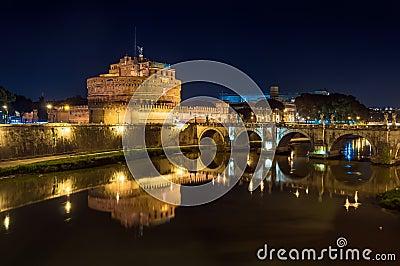 Rome, Castel Sant Angelo on the Tiber, night landscape.