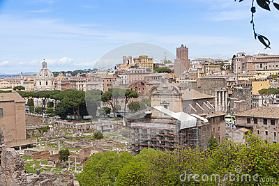 Rome cityscape with Roman Forum view.