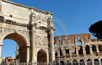 Rome Colosseum and Costantino Arch