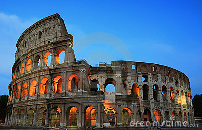 Rome Colosseum at evening