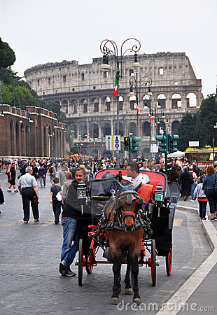 Rome Colosseum Horse & Carriage, Italy Editorial Stock Image