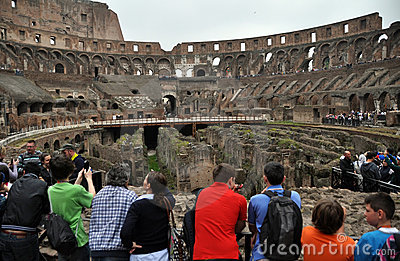 Rome Colosseum Inside People, Italy Editorial Image