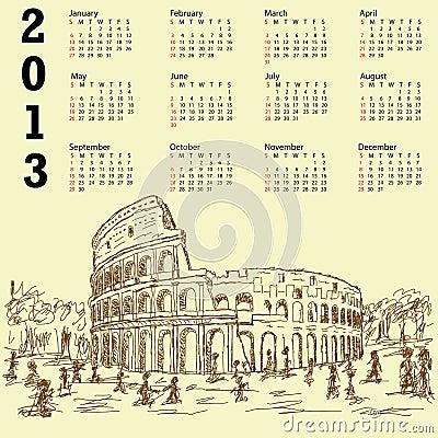 Rome colosseum vintage 2013 calendar