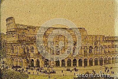 Rome colosseum vintage illustration
