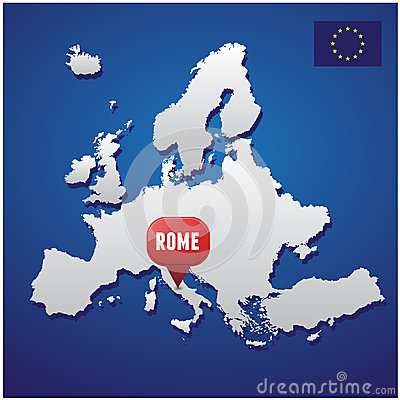 Rome on european map
