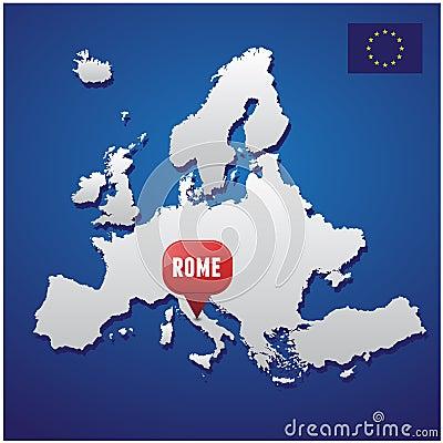Rome on european map