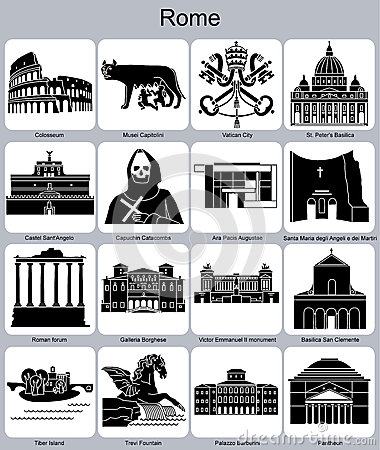 Free Rome Icons Royalty Free Stock Images - 35385529