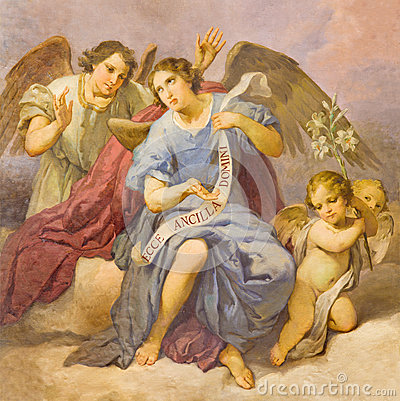Free ROME, ITALY, 2016: The Fresco Of Angels In Church Chiesa Di Santa Maria In Aquiro (Our Lady Of Lourdes Chapel) Stock Photos - 77011913