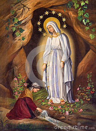 Free ROME, ITALY: Appearance Of Virgin To St. Bernadette In Lourdes By Unknown Artist, In Church Chiesa Di Santa Maria In Aquiro Stock Photography - 69377092