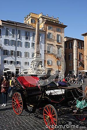 Rome, Italy: Feb 17. 2017 - Piazza della Rotonda - buildings and dramatic sky, Rome, Italy Editorial Photography
