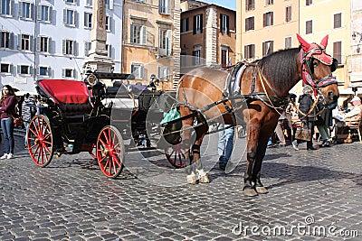 Rome, Italy: Feb 17. 2017 - Piazza della Rotonda - buildings and dramatic sky, Rome, Italy Editorial Stock Photo