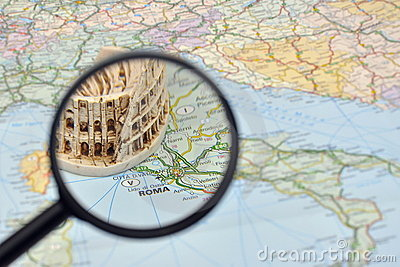 Rome on Italy map - miniature souvenir Colosseum