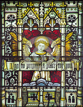 Free ROME, ITALY - MARCH 9. 2016: The Angel With The Inscription On The Stained Glass Of All Saints  Anglican Church Royalty Free Stock Photo - 77009455