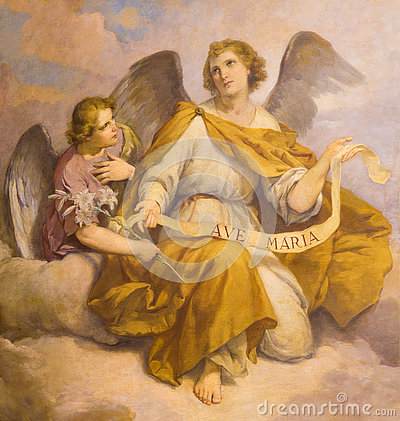 Free ROME, ITALY - MARCH 9, 2016: The Fresco Of Angels In Church Chiesa Di Santa Maria In Aquiro (Our Lady Of Lourdes Chapel) Royalty Free Stock Photography - 77011197