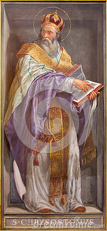 Free ROME, ITALY - MARCH 9, 2016: The Fresco Of The Doctor Of The Church St. John Chrysostom In Church Chiesa Di Santa Maria In Aquiro Royalty Free Stock Photography - 77011777