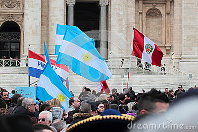South American flags during the Angelus of Pope Francis I Editorial Image
