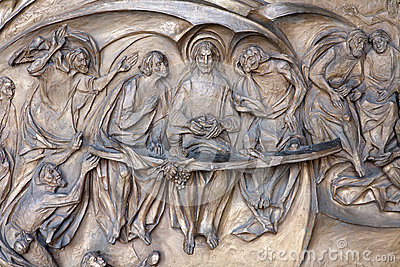 Rome - Last supper of Christ bronze relief