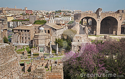 Rome - outlook from Palatne hill to Forum Romanum
