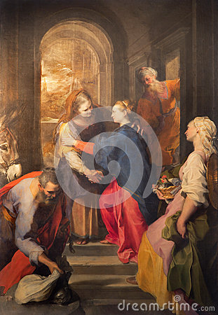 Free Rome - Paint Of Visitation By Federico Barocci (1528 - 1612) In Baroque Church Chiesa Nuova (Santa Maria In Vallicella). Royalty Free Stock Photography - 56179087