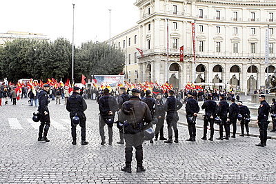 Rome, protests against the government Editorial Stock Photo