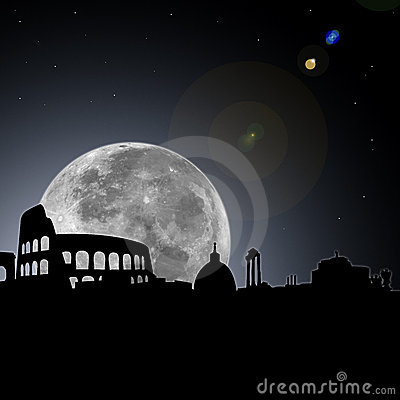 Rome skyline night with moon