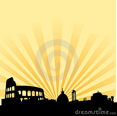Free Rome Skyline Vector Silhouette Stock Images - 8017794