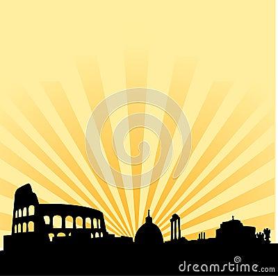 Rome skyline vector silhouette