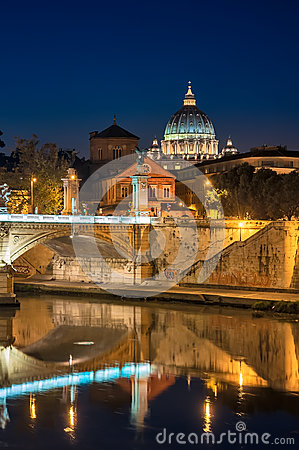 Rome, St. Peter s, night landscape.