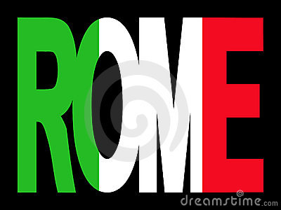 Rome text with Italian flag