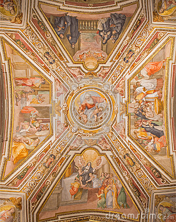 Free Rome -The Ceiling Fresco By G. B. Ricci (1585) In Church Chiesa Di San Agostino And Chapel Of St. Monica. Royalty Free Stock Photos - 56179408