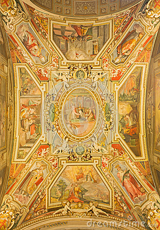 Free Rome - The Ceiling Fresoc By G. B. Ricci (1585) In Church Chiesa Di San Agostino And Chapel Of St. Nicholas Of Tolentino. Stock Photography - 53009272